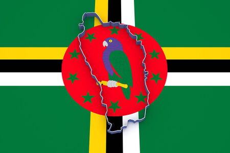 dominica: Map of Dominica. 3d Stock Photo