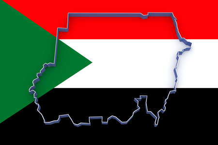 sudan: Map of Sudan. 3d