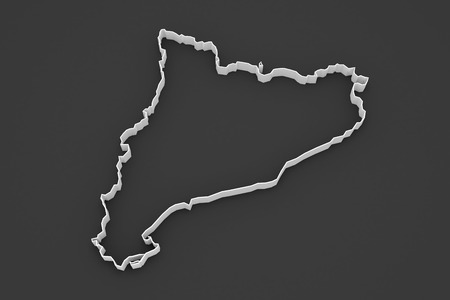 catalonia: Map of Catalonia. 3d
