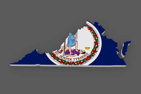 3d virginia: Three-dimensional map of Virginia. USA. 3d
