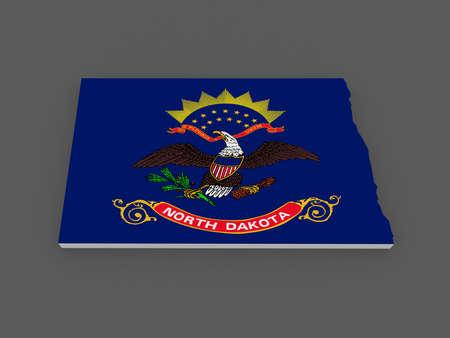 dakota: Three-dimensional map of North Dakota. USA. 3d Stock Photo