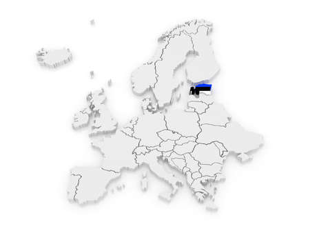 Map of Europe and Estonia. 3d photo