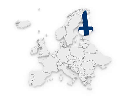 Map of Europe and Finland. 3d photo