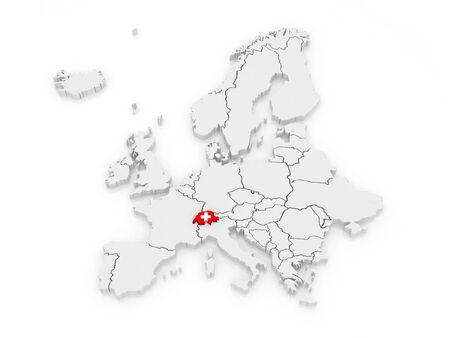 serbia and montenegro: Map of Europe and Switzerland. 3d Stock Photo