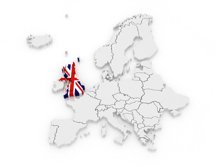 Map of Europe and United Kingdom. 3d Stock Photo