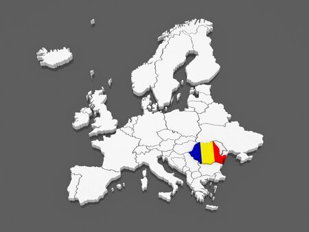 Map of Europe and Romania. 3d photo