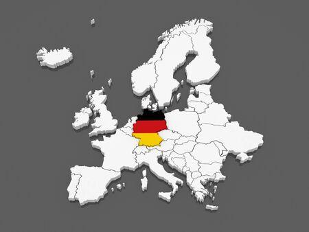 유럽과 독일의지도. 3d