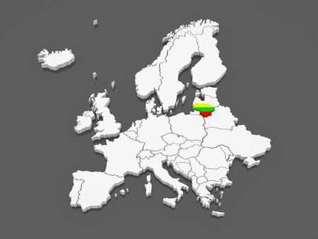 serbia and montenegro: Map of Europe and Lithuania. 3d Stock Photo