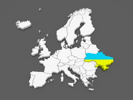 serbia and montenegro: Map of Europe and Ukraine. 3d