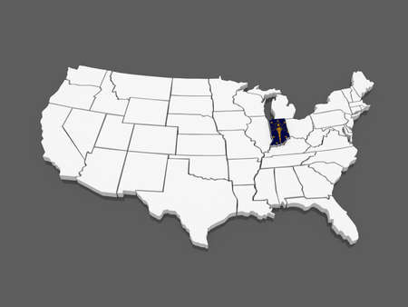 indiana: Three-dimensional map of Indiana. USA. 3d