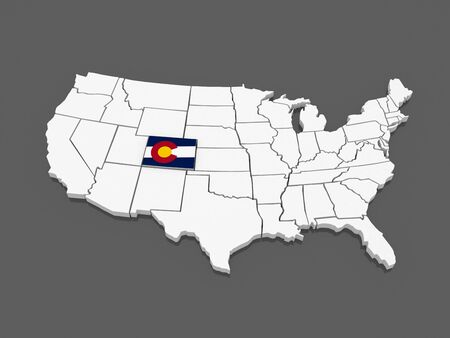 colorado: Three-dimensional map of Colorado. USA. 3d