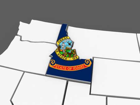 Three-dimensional map of Idaho. USA. 3d Фото со стока