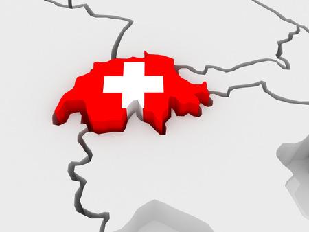 Carte de l'Europe et la Suisse. 3d Banque d'images - 28107798