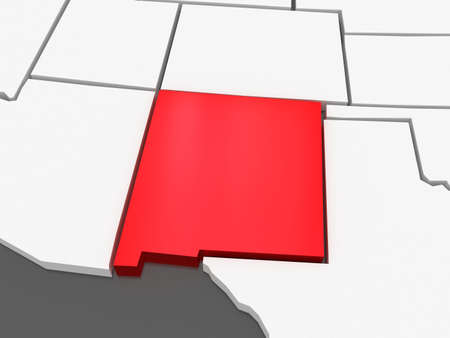Three-dimensional map of New Mexico, USA Stock Photo