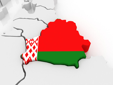 serbia and montenegro: Map of Europe and Belarus, 3d Stock Photo