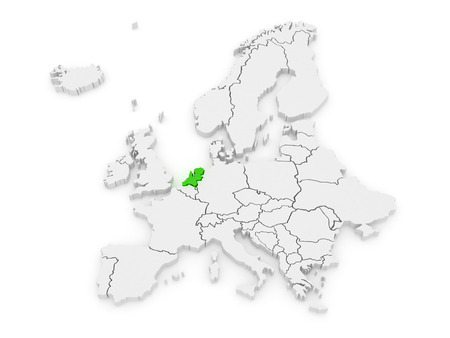 serbia and montenegro: Map of Europe and Netherlands. 3d