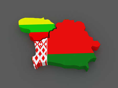 lithuania: Lithuania and Belarus. map. 3d Stock Photo