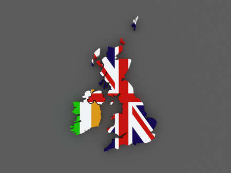 uk map: Ireland and the UK. map. 3d