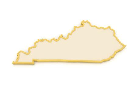 kentucky: Three-dimensional map of Kentucky. USA. 3d