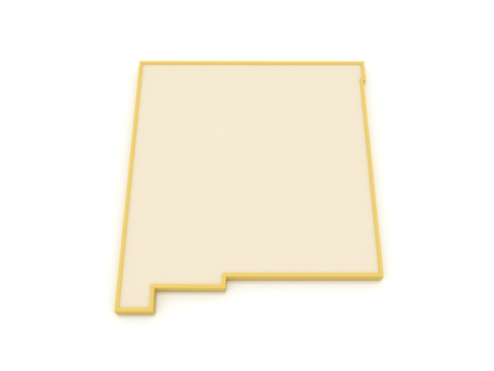 Three-dimensional map of New Mexico. USA. 3d