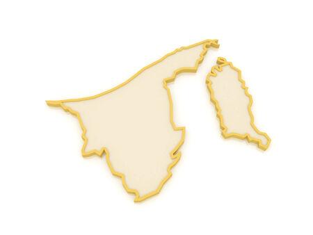 brunei: Map of Brunei. 3d