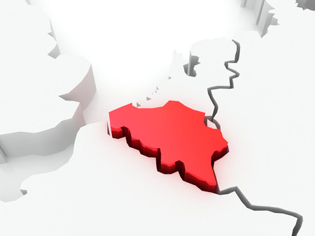 serbia and montenegro: Map of Europe and Belgium. 3d Stock Photo