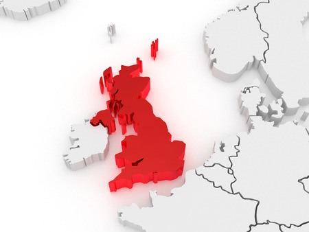 serbia and montenegro: Map of Europe and United Kingdom. 3d Stock Photo