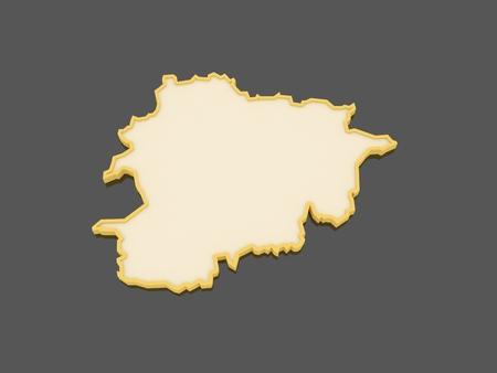 andorra: Map of Andorra. 3d Stock Photo