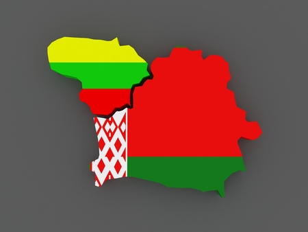 belarus: Lithuania and Belarus. map. 3d Stock Photo