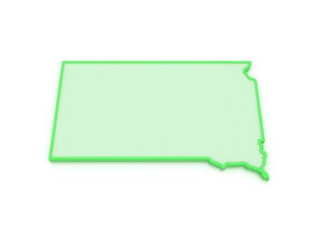 dakota: Three-dimensional map of South Dakota. USA. 3d