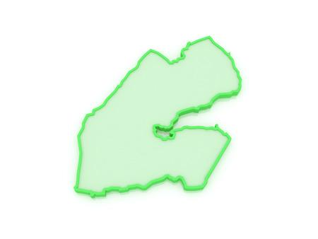djibouti: Map of Djibouti. 3d Stock Photo