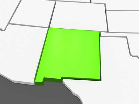 nm: Three-dimensional map of New Mexico. USA. 3d