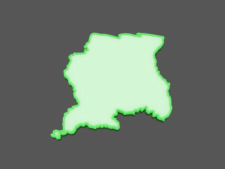 suriname: Kaart van Suriname. 3d Stockfoto