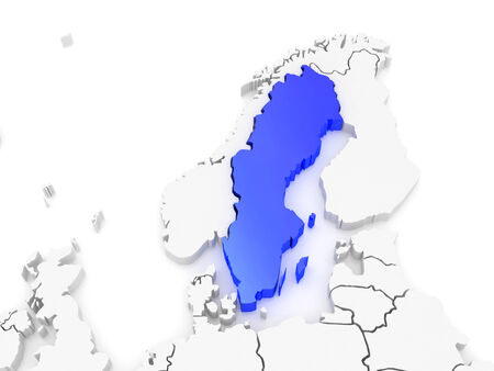 serbia and montenegro: Map of Europe and Sweden. 3d