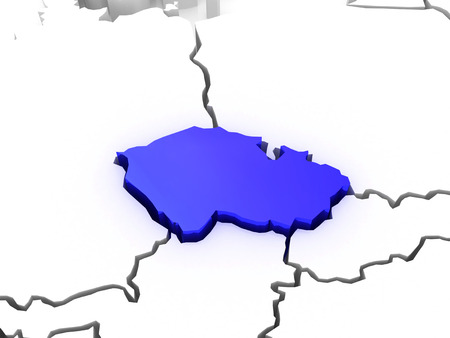 serbia and montenegro: Map of Europe and Slovakia. 3d