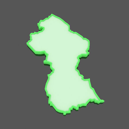 guyana: Map of Guyana. 3d