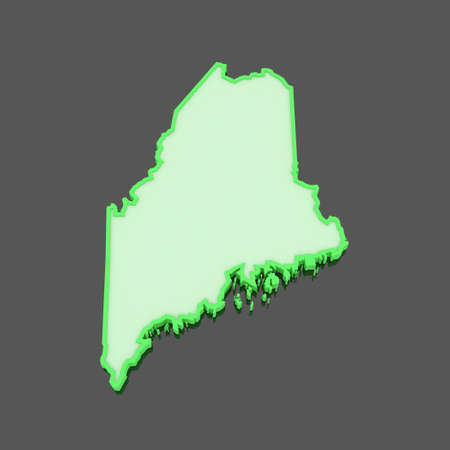 maine: Three-dimensional map of Maine. USA. 3d Stock Photo