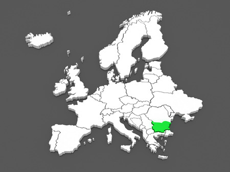 Map of Europe and Bulgaria. 3d photo