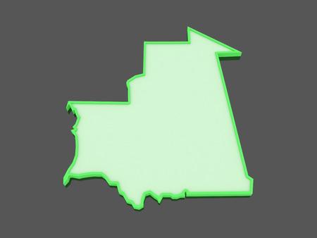 mauritania: Map of Mauritania. 3d Stock Photo