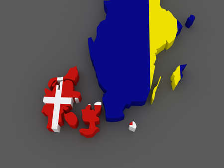 sweden map: Denmark and Sweden. map. 3d Stock Photo
