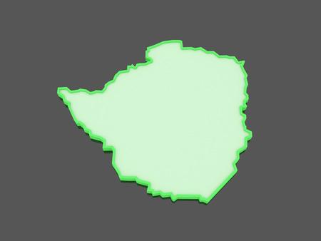 zimbabwe: Map of Zimbabwe. 3d