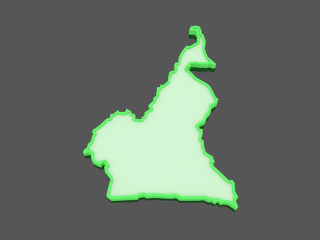 cameroon: Map of Cameroon. 3d Stock Photo