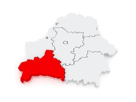 brest: Map of Brest region. Belarus. 3d Stock Photo