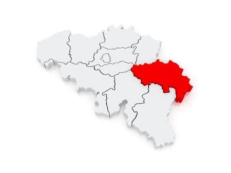 liege: Map of Liege. Belgium. 3d