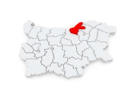Map of Ruse region. Bulgaria. 3d Stock Photo