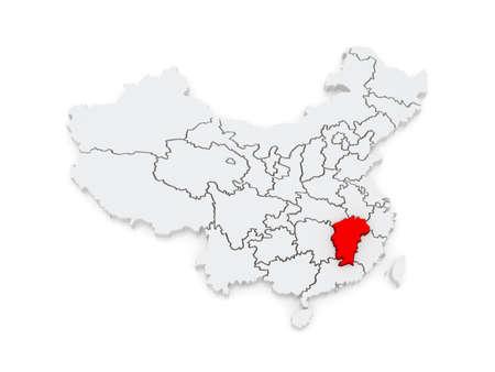 Map of Jiangxi. China. 3d photo