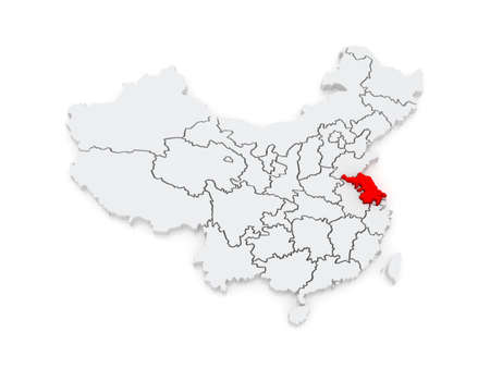 Map of Jiangsu. China. 3d photo
