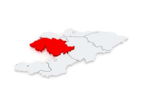 kyrgyzstan: Map of Jalal-Abad Province. Kyrgyzstan. 3d Stock Photo