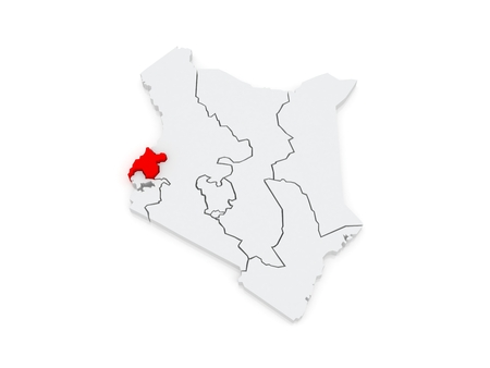 Map of West. Kenya. 3d photo