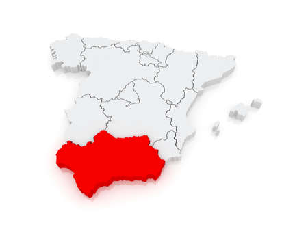 Kaart van Andalusië. Spanje. 3d